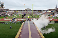 Texas State Football team football team takes the field before NCAA Football game, Saturday, September 13, 2014 in San Marcos, Tex. Navy leads Texas State 28-7 at the halftime.(Mo Khursheed/TFV Media via AP Images)