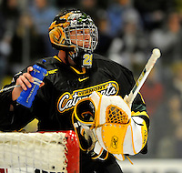 1 December 2007: University of Vermont Catamounts' goaltender Joe Fallon, a Senior from Bemidji, MN, takes a drink during a game against the Providence College Friars at Gutterson Fieldhouse in Burlington, Vermont. The Friars shut out the Catamounts 4-0 in front of a capacity crowd of 4003, for the 64th consecutive sell-out at Gutterson...Mandatory Photo Credit: Ed Wolfstein Photo
