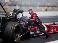 Aug 9, 2020; Clermont, Indiana, USA; Crew member for NHRA top fuel driver Billy Torrence during the Indy Nationals at Lucas Oil Raceway. Mandatory Credit: Mark J. Rebilas-USA TODAY Sports