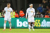 Roque Mesa of Swansea City with his head bandaged after cutting it during the Premier League match between Swansea City and Bournemouth at the Liberty Stadium, Swansea, Wales, UK. Saturday 25 November 2017
