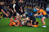 NZ's Ardie Savea tries to turn over ruck ball during the Bledisloe Cup rugby match between the New Zealand All Blacks and Australia Wallabies at Eden Park in Auckland, New Zealand on Saturday, 7 August 2021. Photo: Dave Lintott / lintottphoto.co.nz