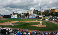 General view of a Rochester Red Wings game against the Pawtucket Red Sox on July 1, 2015 at Frontier Field in Rochester, New York.  Rochester defeated Pawtucket 8-4.  (Mike Janes/Four Seam Images)