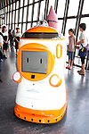 """August 01 2012, Tokyo, Japan - The new robot guide """"Tawabo"""" which name was elected by popular vote. Tokyo Tower implemented the new robot guide which name is """"Tawabo"""", the first indoor robot guide in Japan. It can speak Japanese, English, Chinese and Korean, it weights 200kg and it is 160cm tall."""