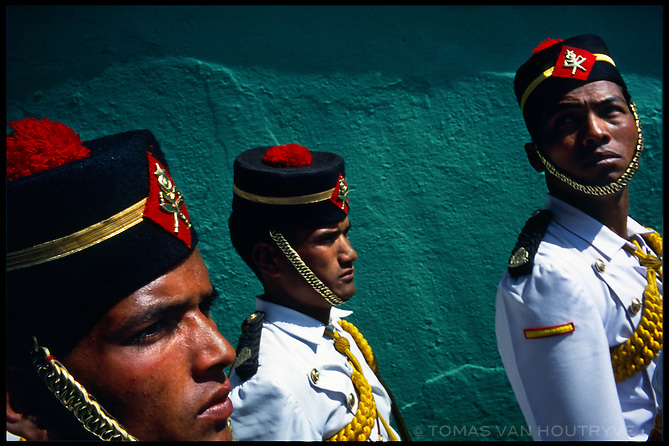 Royal Nepal Army soldiers in traditional dress participate in Army Day celebrations in the Kathmadu, Nepal on 16 February, 2004. Major contributions of arms and training by the United States of America and India have transformed the RNA from a ceremonial army to a modern fighting force.