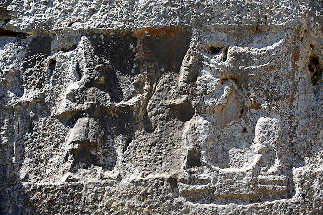 Procession of male gods in the 13th century BC Hittite religious rock carvings of Yazılıkaya Hittite rock sanctuary, chamber A, Hattusa, Bogazale, Turkey.