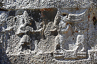 Procession of male gods in the 13th century BC Hittite religious rock carvings of Yazılıkaya Hittite rock sanctuary, chamber A, Hattusa, Bogazale, Turkey.
