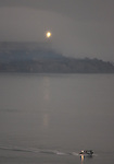 Alcatraz Island early morning as San Francisco, Calif. wakes up out of the fog.