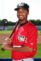 Tri-City ValleyCats second baseman Neiko Johnson #3 poses for a photo before a game against the Batavia Muckdogs at Dwyer Stadium on July 15, 2011 in Batavia, New York.  Batavia defeated Tri-City 4-3.  (Mike Janes/Four Seam Images)