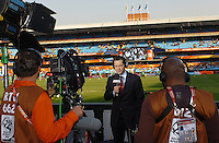 ESPN sideline reporter Jeremy Schapp does a pre-match piece. The United States won Group C of the 2010 FIFA World Cup in dramatic fashion, 1-0, over Algeria in Pretoria's Loftus Versfeld Stadium, Wednesday, June 23rd..