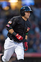 El Paso Chihuahuas shortstop Luis Urias (3) jogs towards first base after hitting a home run during a Pacific Coast League game against the Albuquerque Isotopes at Southwest University Park on May 10, 2019 in El Paso, Texas. Albuquerque defeated El Paso 2-1. (Zachary Lucy/Four Seam Images)
