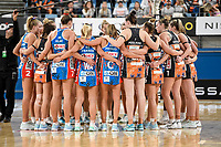 6th June 2021; Ken Rosewall Arena, Sydney, New South Wales, Australia; Australian Suncorp Super Netball, New South Wales, NSW Swifts versus Giants Netball; both the Giants and Swifts huddle  after the game in which the Swifts won 63-51