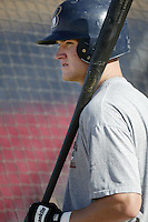 Jace Brewer of the Bakersfield Blaze before a California League 2002 season game against the High Desert Mavericks at Mavericks Stadium, in Adelanto, California. (Larry Goren/Four Seam Images)