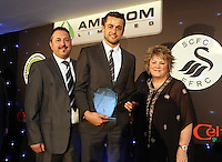 Pictured: Lukasz Fabianski receiving the best newcomer of the season award Wednesday 20 May 2015<br /> Re: Swansea City FC Awards Dinner at the Liberty Stadium, south Wales, UK