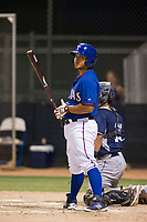 AZL Rangers designated hitter Francisco Ventura bats against the AZL Padres 2 on August 2, 2017 at the Texas Rangers Spring Training Complex in Surprise, Arizona. Padres 2 defeated the Rangers 6-3. (Zachary Lucy/Four Seam Images)