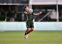 LAKE BUENA VISTA, FL - JULY 18: Pablo Bonilla #28 of the Portland Timbers settles the ball off his chest during a game between Houston Dynamo and Portland Timbers at ESPN Wide World of Sports on July 18, 2020 in Lake Buena Vista, Florida.