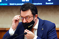 The secretary of Lega party Matteo Salvini adjusts his glasses during the conference titled 'The Italians abroad. Analysis after a year of Covid-19' promoted by Lega Party.<br /> Rome (Italy), May 4th 2021<br /> Photo Samantha Zucchi Insidefoto