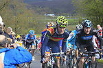 The peloton including Jose Joaquin Rojas (ESP) Movistar Team climb the Cote de la Redoute during the 98th edition of Liege-Bastogne-Liege, running 257.5km from Liege to Ans, Belgium. 22nd April 2012.  <br /> (Photo by Eoin Clarke/NEWSFILE).