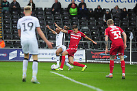 Andre Ayew of Swansea City is fouled by Dael Fry of Middlesbrough inside the box during the Sky Bet Championship match between Swansea City and Middlesbrough at the Liberty Stadium in Swansea, Wales, UK. Saturday 14 December 2019