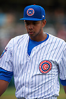 South Bend Cubs starting pitcher Eury Ramos (8) walks off the field between innings of a Midwest League game against the Cedar Rapids Kernels at Four Winds Field on May 8, 2019 in South Bend, Indiana. South Bend defeated Cedar Rapids 2-1. (Zachary Lucy/Four Seam Images)