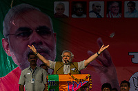 SIDHAULI, UTTAR PRADESH, INDIA  - APRIL 27, 2014: Bhartiya Janta Party (BJP)'s prime ministerial candidate, Narendra Modi addresses supporters during an election rally in Sidhauli, 50 kms North of Lucknow on April 27, 2014. India's marathon nine-phase election kicked off April 7 and will end on May 12 when hundreds of millions will have cast their ballots.<br /> <br /> Daniel Berehulak for The New York Times