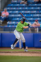 Lynchburg Hillcats center fielder Conner Capel (1) at bat during a game against the Salem Red Sox on May 10, 2018 at Haley Toyota Field in Salem, Virginia.  Lynchburg defeated Salem 11-5.  (Mike Janes/Four Seam Images)