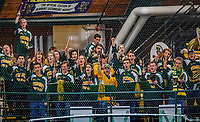 9 February 2019: The University of Vermont Catamounts band cheers on the home team during a game against the University of New Hampshire Wildcats at Gutterson Fieldhouse in Burlington, Vermont. The Wildcats fell to the Catamounts 4-1 splitting their 2-game Hockey East weekend series. Mandatory Credit: Ed Wolfstein Photo *** RAW (NEF) Image File Available ***