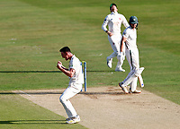 Nathan Gilchrist of Kent celebrates taking the wicket of Tom Fell (R) during Kent CCC vs Worcestershire CCC, LV Insurance County Championship Division 3 Cricket at The Spitfire Ground on 6th September 2021