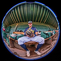 4 September 2017: Vermont Lake Monsters infielder Will Toffey sits ready in the dugout prior to the first game of a double-header against the Tri-City ValleyCats at Centennial Field in Burlington, Vermont. The teams split their day, with Tri-City winning 6-5 in the first game, and the Lake Monsters taking the second 7-4 in NY Penn League action. Mandatory Credit: Ed Wolfstein Photo *** RAW (NEF) Image File Available ***