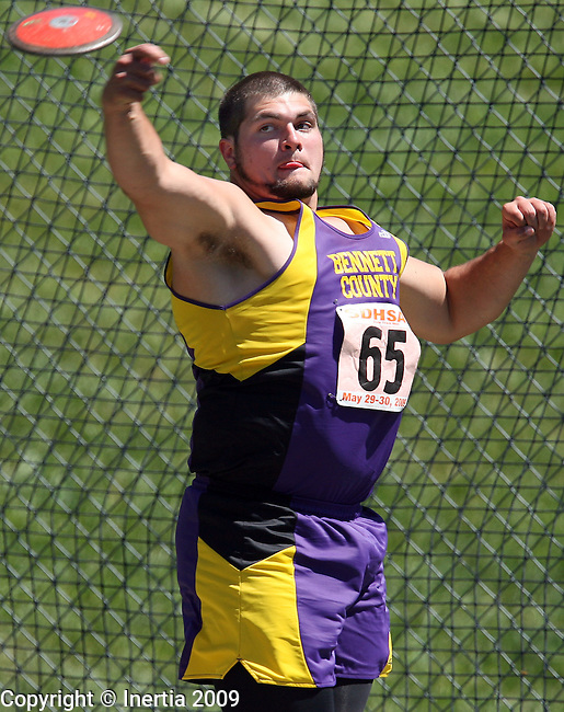 SPEARFISH, SD - May 29: Patrick Rous of Bennett County throws the discus Friday at the Class A State Track Meet in Spearfish. (Photo by Dave Eggen/Inertia)