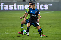 SAN JOSE, CA - OCTOBER 18: Cristian Espinoza #10 of the San Jose Earthquakes protects the ball during a game between Seattle Sounders FC and San Jose Earthquakes at Earthquakes Stadium on October 18, 2020 in San Jose, California.