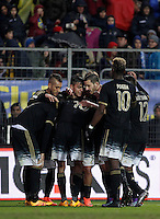 Calcio, Serie A: Frosinone vs Juventus. Frosinone, stadio Comunale, 7 febbraio 2016.<br /> Juventus' Paulo Dybala, center, celebrates with teammates after scoring after scoring during the Italian Serie A football match between Frosinone and Juventus at Frosinone's Comunale stadium, 7 January 2016.<br /> UPDATE IMAGES PRESS/Isabella Bonotto