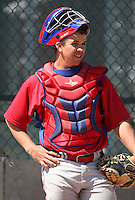 March 30, 2010:  Catcher Tuffy Gosewisch of the Philadelphia Phillies organization during Spring Training at the Carpenter Complex in Clearwater, FL.  Photo By Mike Janes/Four Seam Images