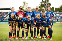 TACOMA, WA - JULY 31: OL Reign starting eleven before a game between Racing Louisville FC and OL Reign at Cheney Stadium on July 31, 2021 in Tacoma, Washington.