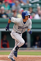 Left fielder Ramiro Rodriguez (4) of the Asheville Tourists in a game against the Greenville Drive on Tuesday, June 1, 2021, at Fluor Field at the West End in Greenville, South Carolina. (Tom Priddy/Four Seam Images)