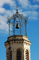 Bell tower of the church, Les Pennes-Mirabeau, Provence, France.