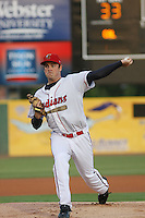 Kinston Indians pitcher T.J. McFarland of the Carolina League All-Stars pitching during the California League vs. Carolina League All-Star game held at BB&T Coastal Field in Myrtle Beach, SC on June 22, 2010. The California League All-Stars defeated the Carolina League All-Stars by the score of 4-3.  Photo By Robert Gurganus/Four Seam Images