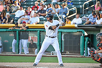 Kaleb Cowart (31) of the Salt Lake Bees at bat against the Fresno Grizzlies in Pacific Coast League action at Smith's Ballpark on June 13, 2015 in Salt Lake City, Utah.  (Stephen Smith/Four Seam Images)