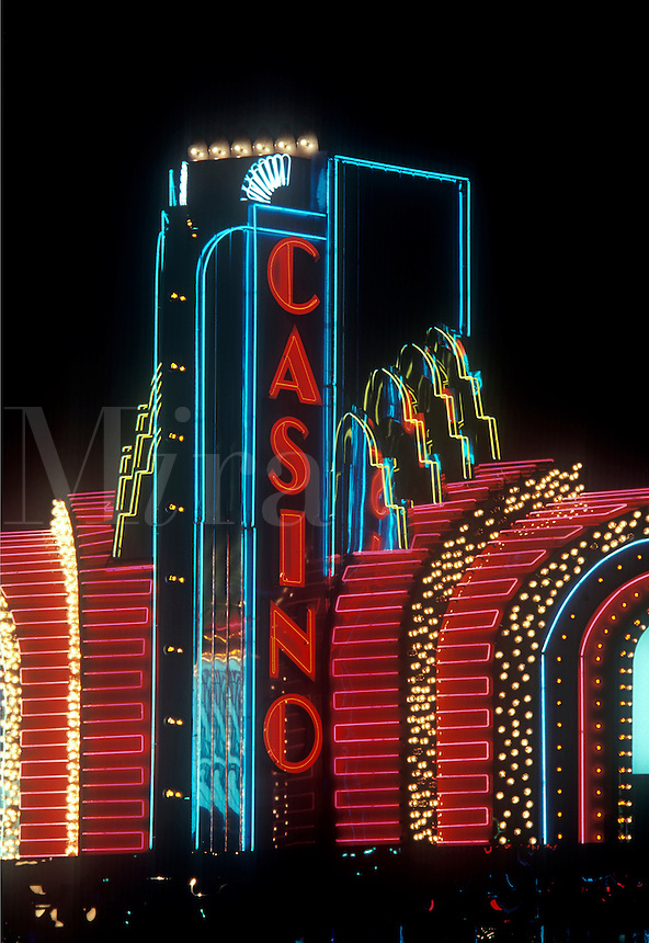 Casino neon lights on The Strip, Las Vegas, NV