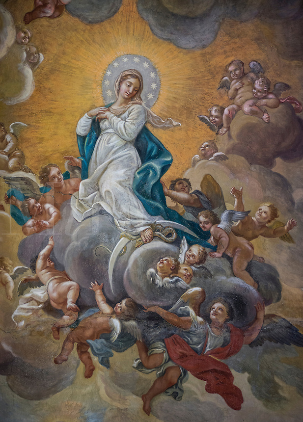 Cieling fresco of the Assumption, Santa Maria Maddalena, Rome, Italy