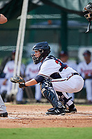GCL Braves catcher Logan Brown (28) waits to receive a pitch during the first game of a doubleheader against the GCL Yankees West on July 30, 2018 at Champion Stadium in Kissimmee, Florida.  GCL Yankees West defeated GCL Braves 7-5.  (Mike Janes/Four Seam Images)