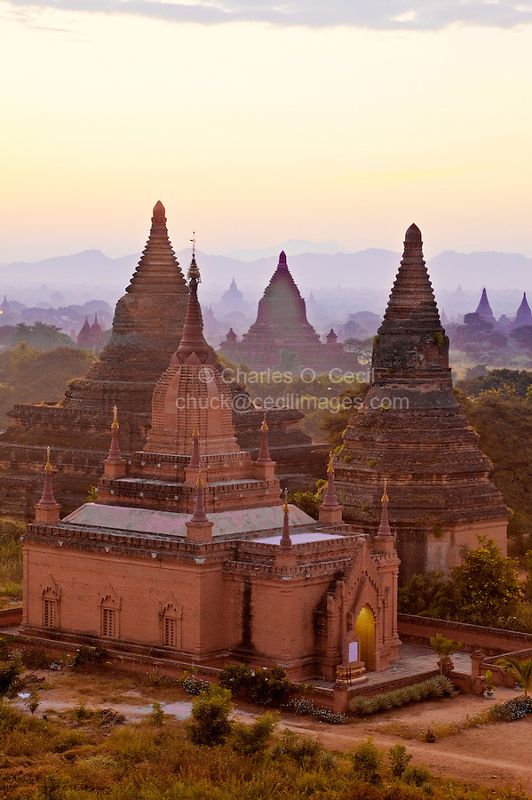 Myanmar, Burma, Bagan.  Temples in Early-Morning Sunlight.