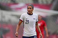 KASHIMA, JAPAN - AUGUST 2: Lynn Williams #21 of the United States during a game between Canada and USWNT at Kashima Soccer Stadium on August 2, 2021 in Kashima, Japan.