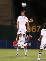 Stefani Miglioranzi (15) goes up for the header. San Jose Earthquakes tied Los Angeles Galaxy 1-1 at the McAfee Colisum in Oakland, California on April 18, 2009.