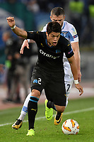 Hiroki Sakai of Marseille and Valon Berisha of Lazio compete for the ball during the Uefa Europa League 2018/2019 football match between SS Lazio and Marseille at stadio Olimpico, Roma, November, 08, 2018 <br />  Foto Andrea Staccioli / Insidefoto