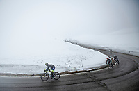 coming down the misty Passo Giau<br /> <br /> due to the bad weather conditions the stage was shortened (on the raceday) to 153km and the Passo Giau became this years Cima Coppi (highest point of the Giro).<br /> <br /> 104th Giro d'Italia 2021 (2.UWT)<br /> Stage 16 from Sacile to Cortina d'Ampezzo (shortened from 212km to 153km)<br /> <br /> ©kramon
