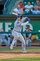 Owen Taylor (27) of the Grand Junction Rockies at bat against the Ogden Raptors at Lindquist Field on August 28, 2019 in Ogden, Utah. The Rockies defeated the Raptors 8-5. (Stephen Smith/Four Seam Images)