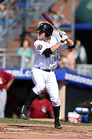 Jamestown Jammers third baseman Chase Simpson (16) at bat during a game against the Mahoning Valley Scrappers on June 15, 2014 at Russell Diethrick Park in Jamestown, New York.  Jamestown defeated Mahoning Valley 9-4.  (Mike Janes/Four Seam Images)