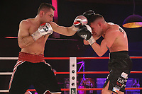 19th December 2020, Hamburg, Germany; Universal Boxing Promotion fight, Felix Sturm versus Timo Rost; A left jab from Rost