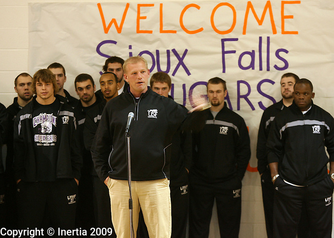ROME, GA - DECEMBER 17: University of Sioux Falls head coach Kalen DeBoer talks with students at West Elementary School in Rome, GA, on Thursday morning, Dec. 17. The University of Sioux Falls Cougars are in Rome to play Lindenwood University Lions for the NAIA Football Championship on Saturday. (Photo by Dave Eggen/Inertia)