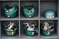 Eastern Michigan Hurons helmet rack on May 3, 2016 at Ray Fisher Stadium in Ann Arbor, Michigan. (Andrew Woolley/Four Seam Images)